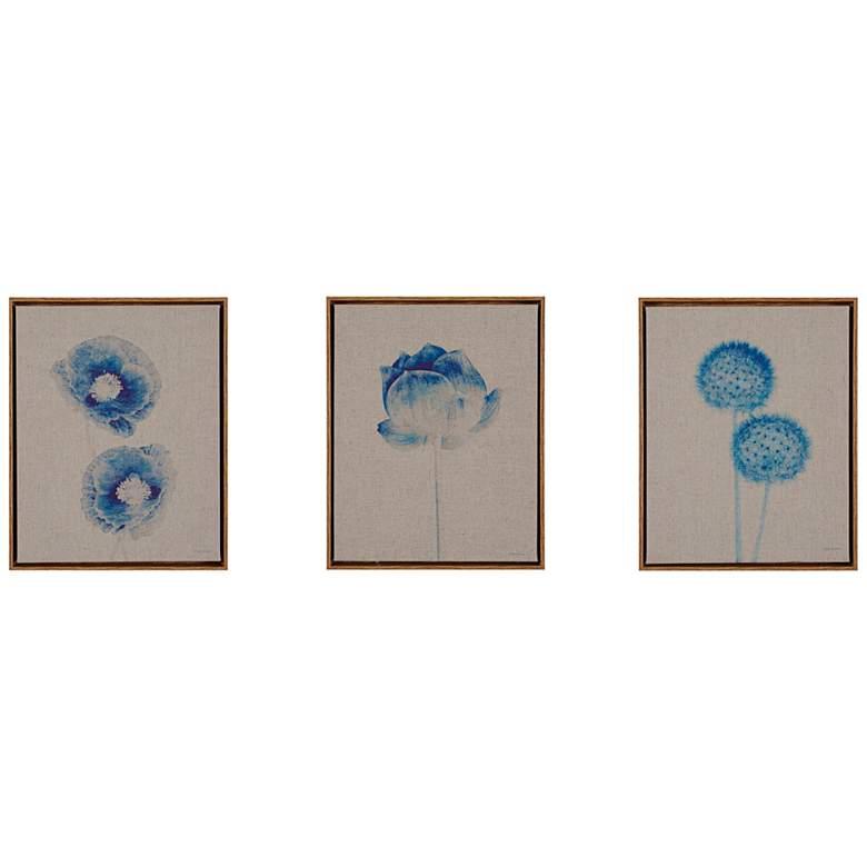 """Blue Print Botanicals 14"""" High 3-Piece Canvas Wall Art Set"""