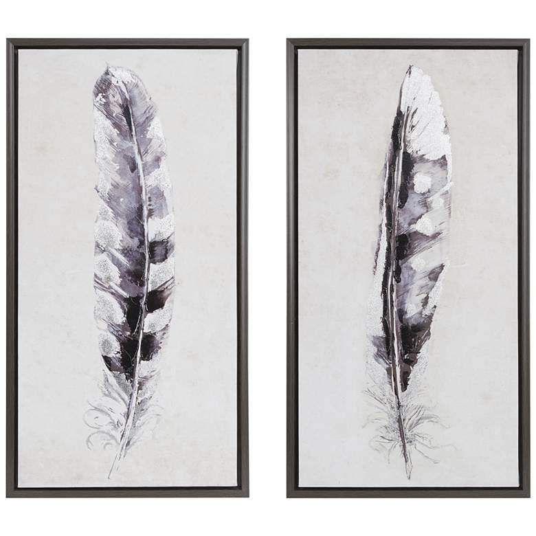 "Flight Feathers 31 1/2"" High 2-Piece Canvas Wall Art Set"
