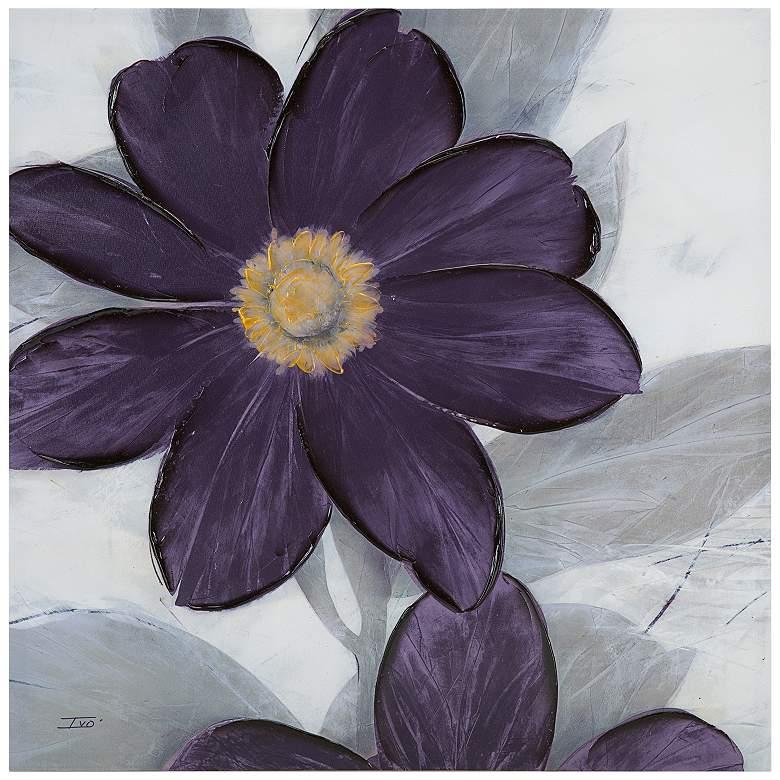 "Midnight Bloom Plum 30"" Square Canvas Wall Art"