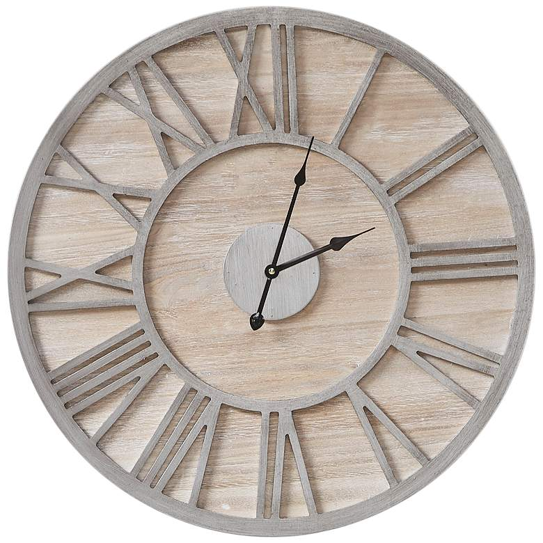 "Mason Natural Wood 23 1/2"" Round Wall Clock"