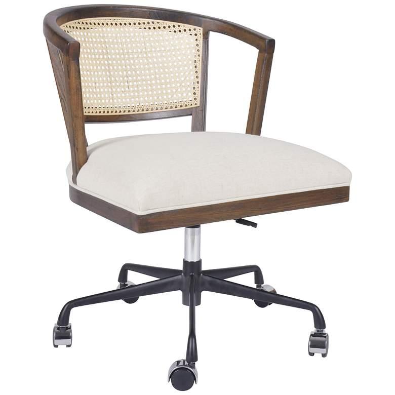 Alexa Mid-Century Beech and Cane Adjustable Swivel Desk Chair