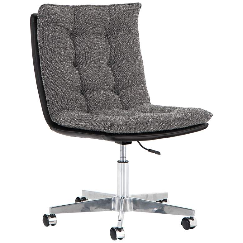 Quinn Mid-Century Gray Tufted Adjustable Swivel Desk Chair