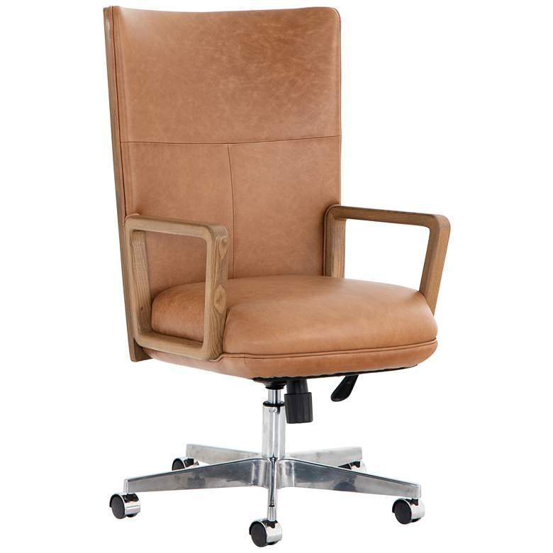 Cohen Mid-Century Sonoma Leather Adjustable Swivel Desk Chair
