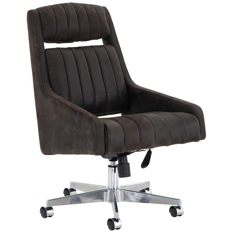 Vonn Mid-Century Winchester Brown Leather Adjustable Swivel Desk Chair