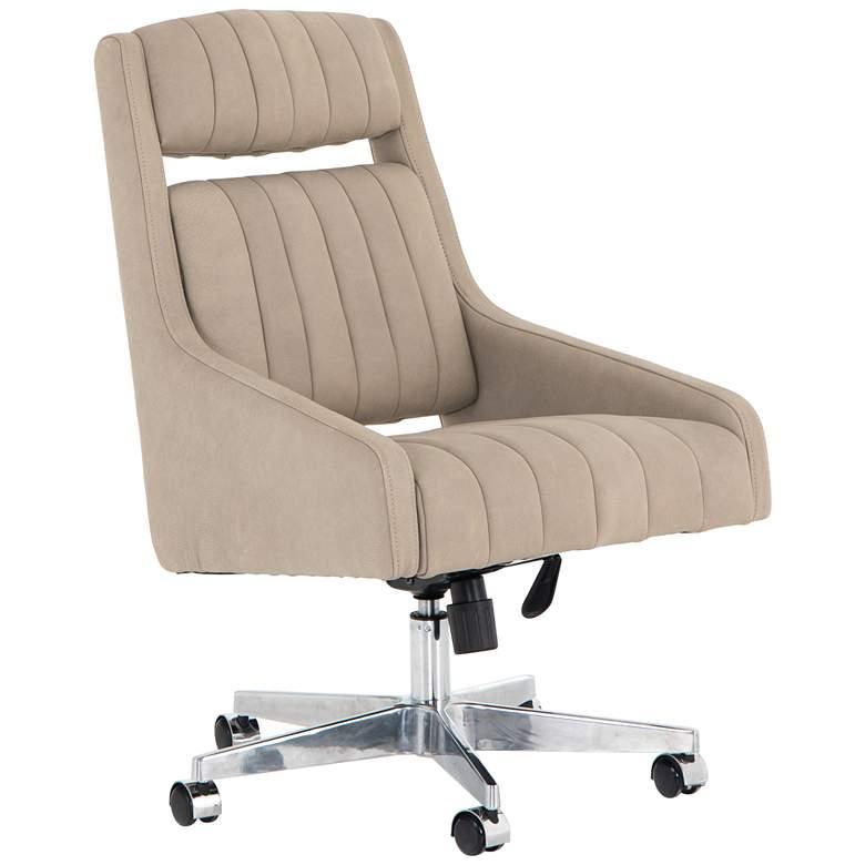Vonn Mid-Century Umber White Leather Adjustable Swivel Desk Chair