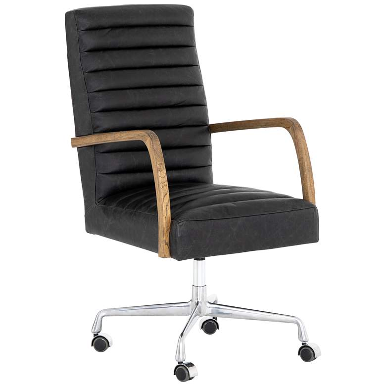 Bryson Mid-Century Smoke Leather and Oak Swivel Desk Chair