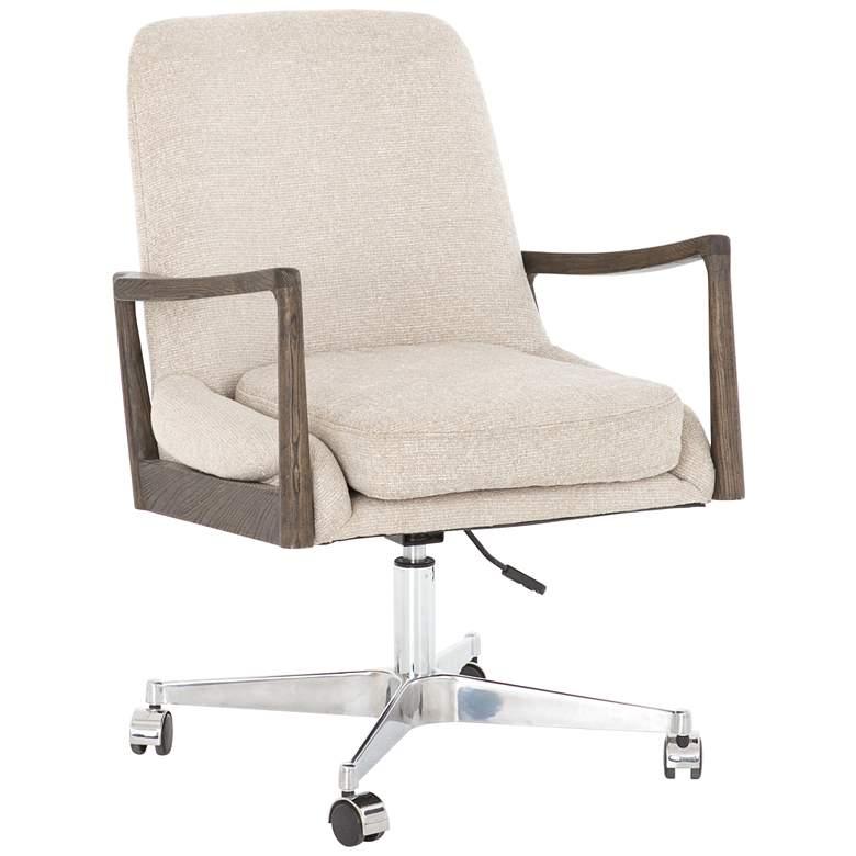 Braden Mid-Century Camel White Cedar Adjustable Swivel Desk Chair