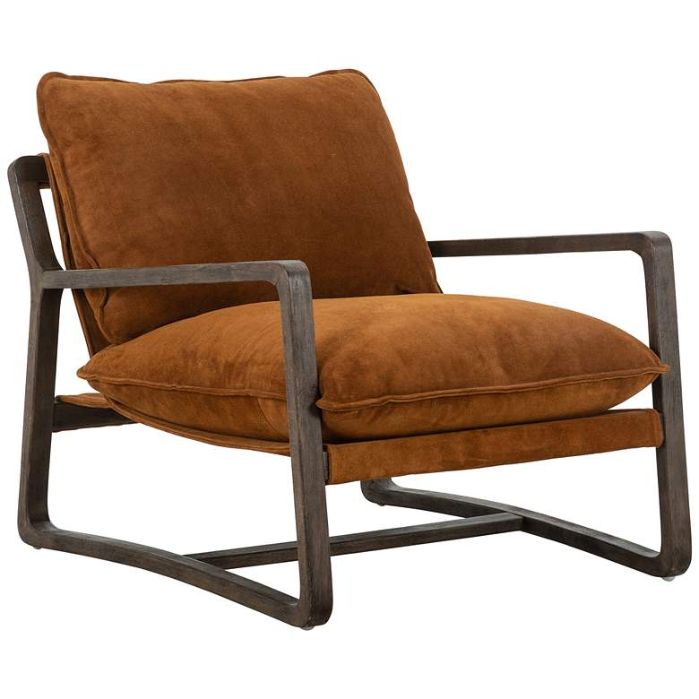 Ace Mid-Century Montana Harvest Brown Suede and Oak Chair