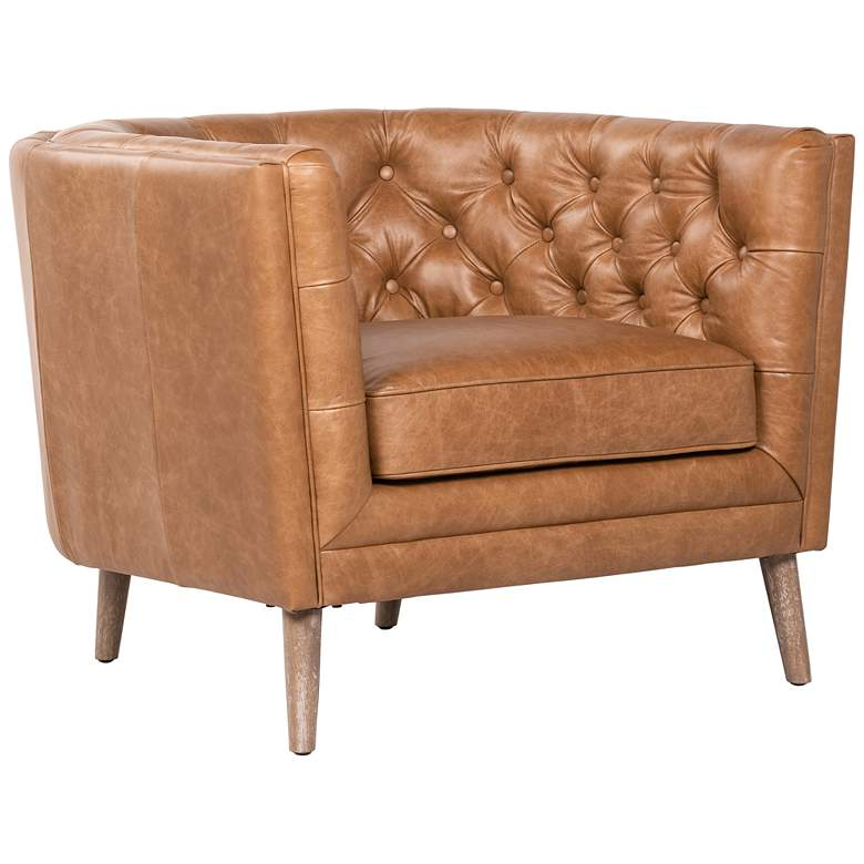 Belair Mid-Century Sonoma Butterscotch Leather and Parawood Chair