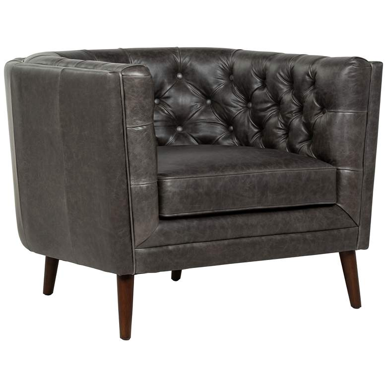 Belair Mid-Century Chaps Ebony Leather and Parawood Chair