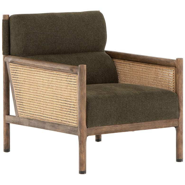 Kempsey Modern Sutton Olive Parawood and Rattan Chair