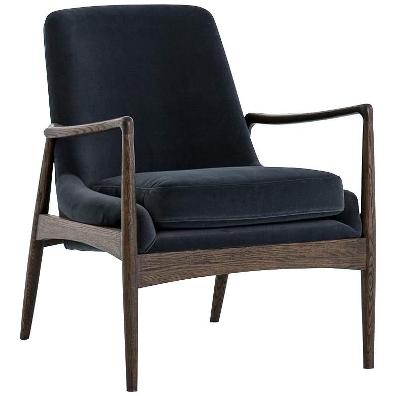 Braden Mid-Century Blue Velvet and Nettlewood Chair