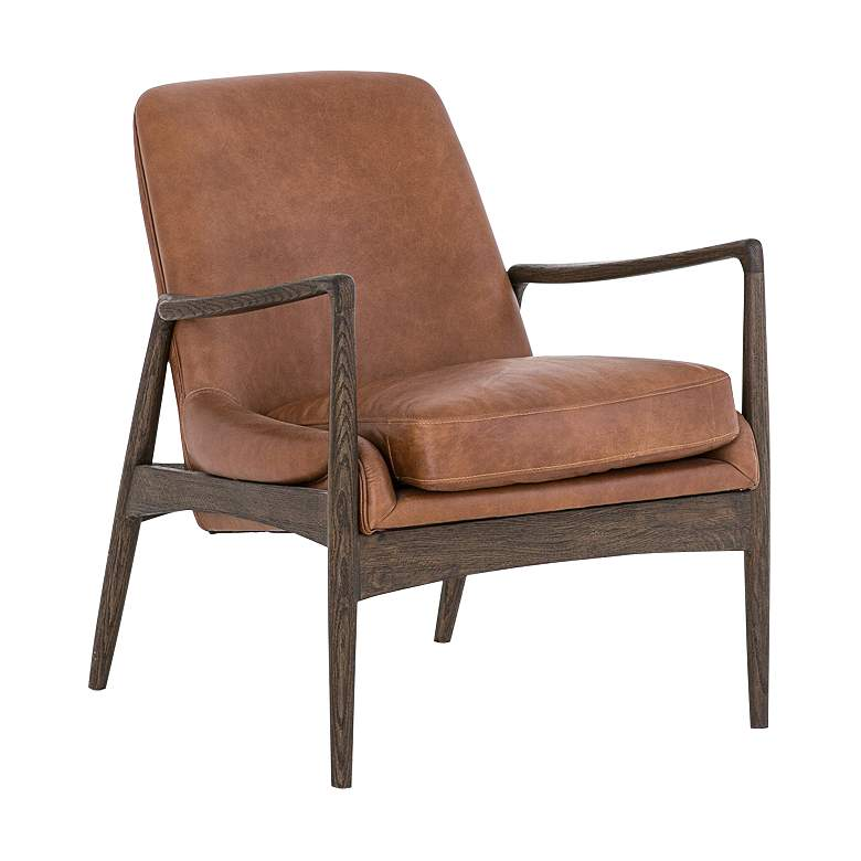 Braden Mid-Century Brandy Leather and Nettlewood Chair