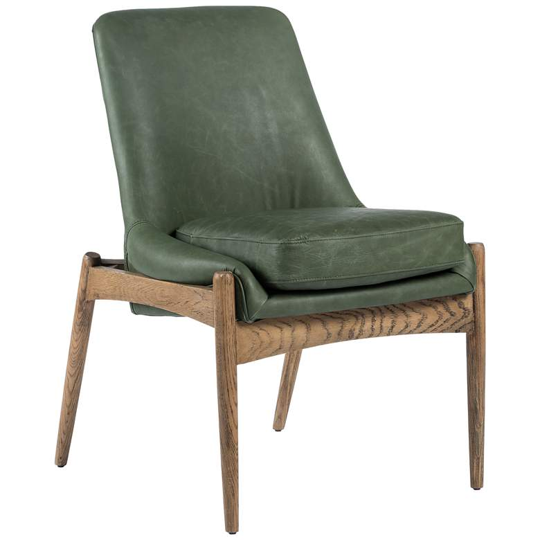 Braden Mid-Century Eden Sage Leather and Oak Dining Chair