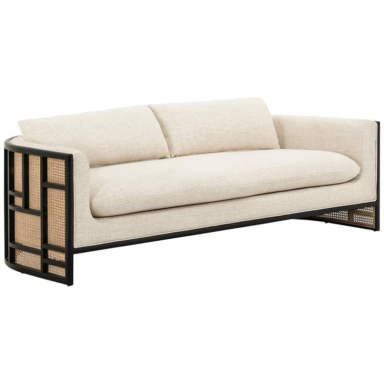 """June 81"""" Wide Modern Cream Parawood and Rattan Sofa"""