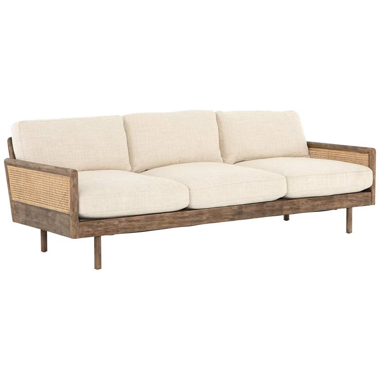 """Zayne 91"""" Wide Modern Irving Taupe Rattan and Parawood Sofa"""