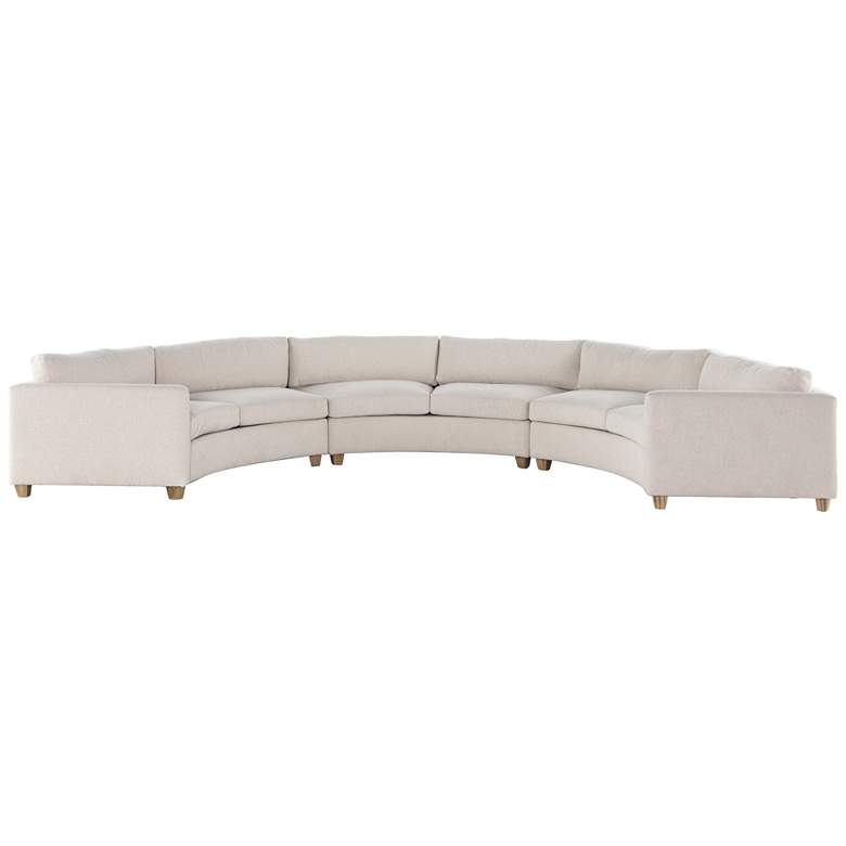 Heidi Modern Ivory Fabric and Pine 3-Piece Sectional