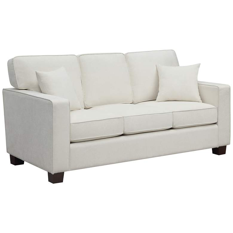 """Russell 70 3/4"""" Wide Ivory 3-Seater Sofa with 2 Pillows"""