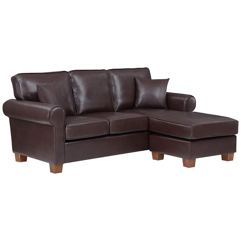 Rylee Cocoa Faux Leather L-Shaped Sectional Sofa w/ Pillows