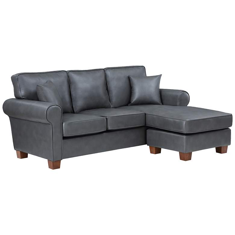 Rylee Pewter Faux Leather L-Shaped Sectional Sofa w/ Pillows