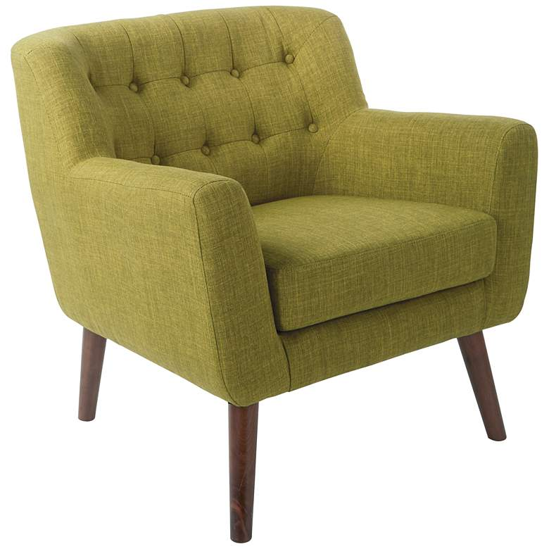 Mill Lane Green Button-Tufted Accent Chair