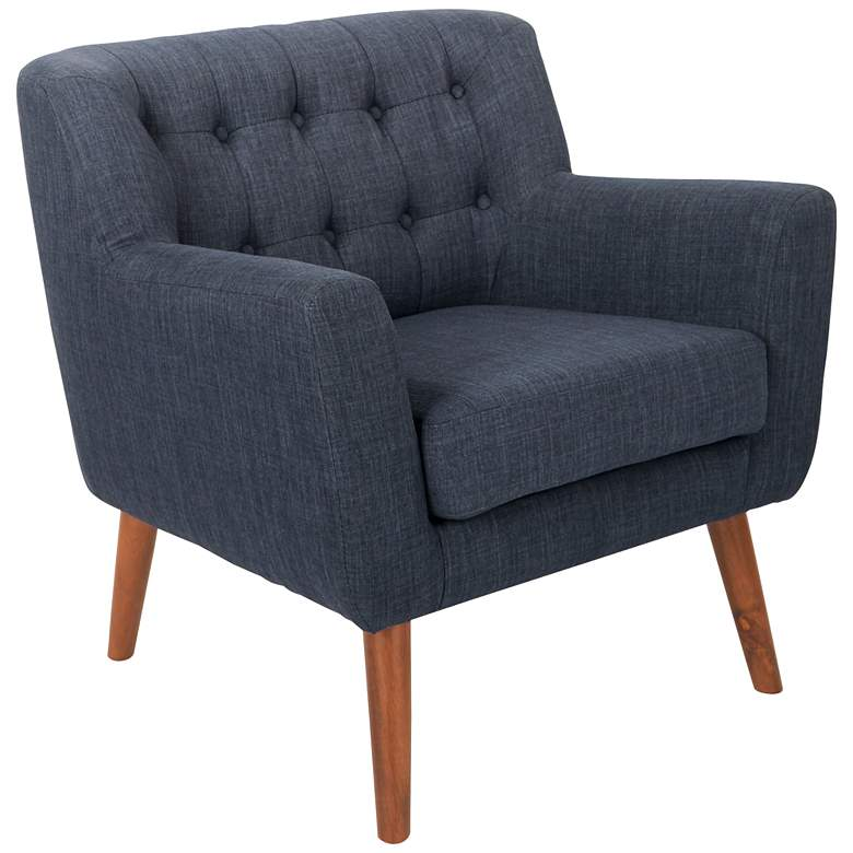 Mill Lane Navy Button-Tufted Accent Chair