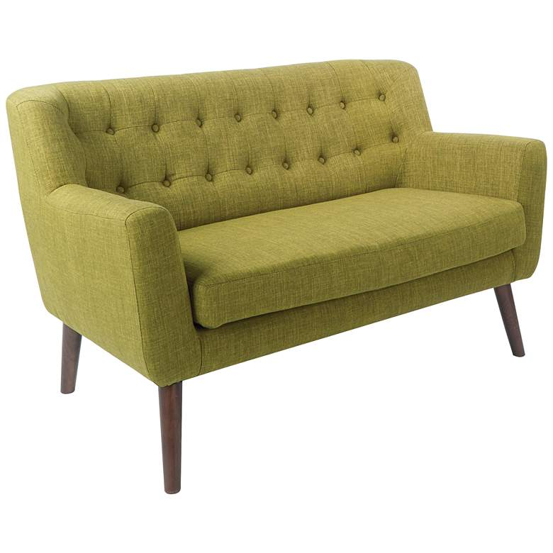 Mill Lane Green Button-Tufted Loveseat
