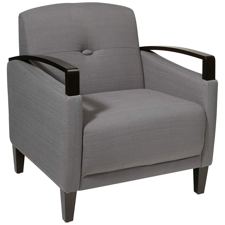 Main Street Woven Charcoal Button-Tufted Armchair