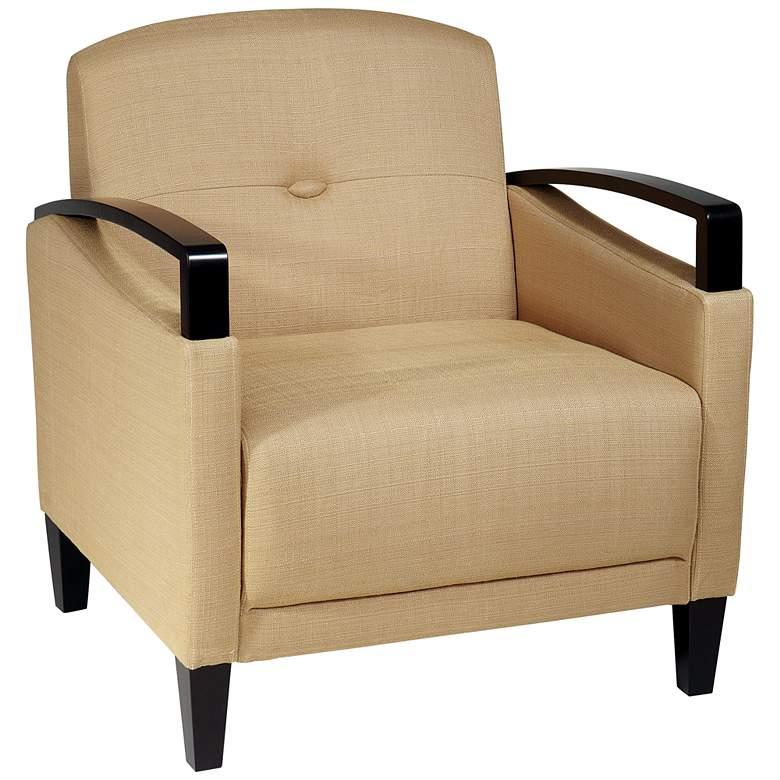Main Street Woven Wheat Button-Tufted Armchair