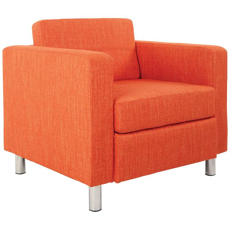 Pacific Solid Tangerine Fabric Armchair