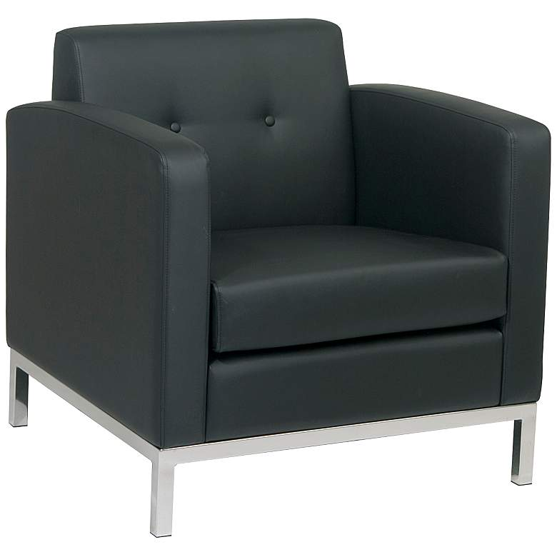 Wall Street Black Faux Leather Button-Tufted Armchair