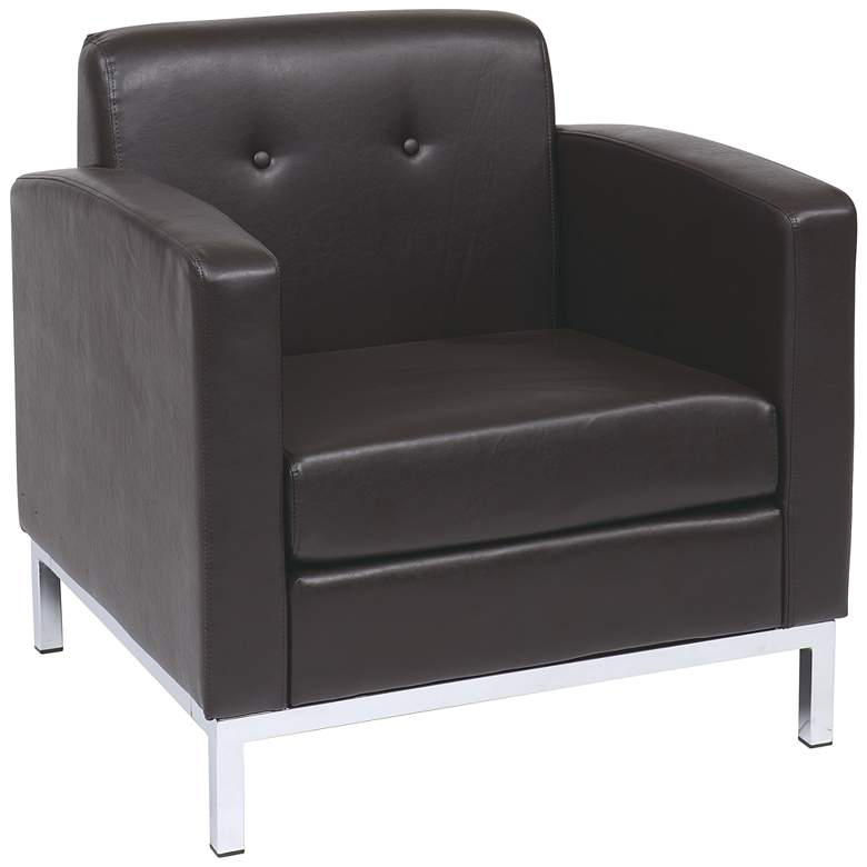 Wall Street Espresso Faux Leather Button-Tufted Armchair