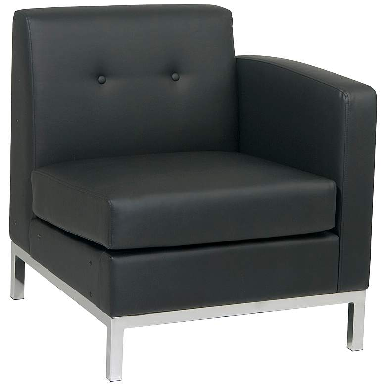 Wall Street Black Faux Leather Button-Tufted Right Armchair