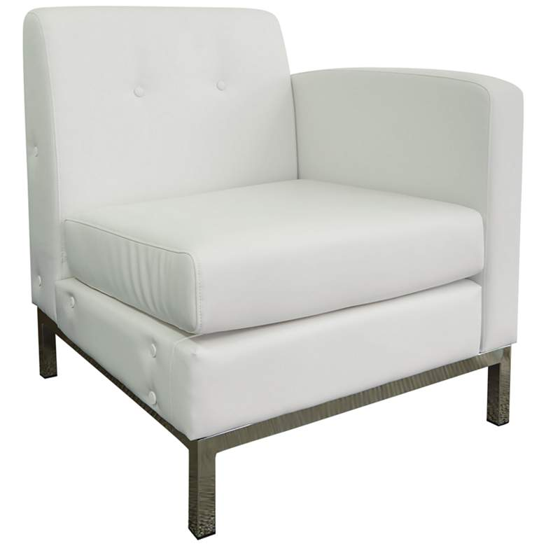 Wall Street White Faux Leather Button-Tufted Right Armchair