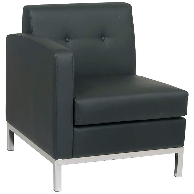 Wall Street Black Faux Leather Button-Tufted Left Armchair
