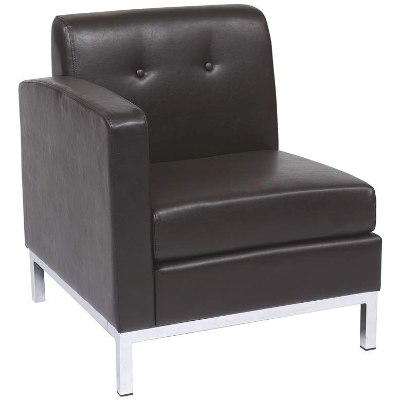 Wall Street Espresso Faux Leather Tufted Left Armchair