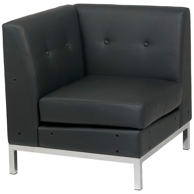 Wall Street Black Faux Leather Button-Tufted Corner Chair