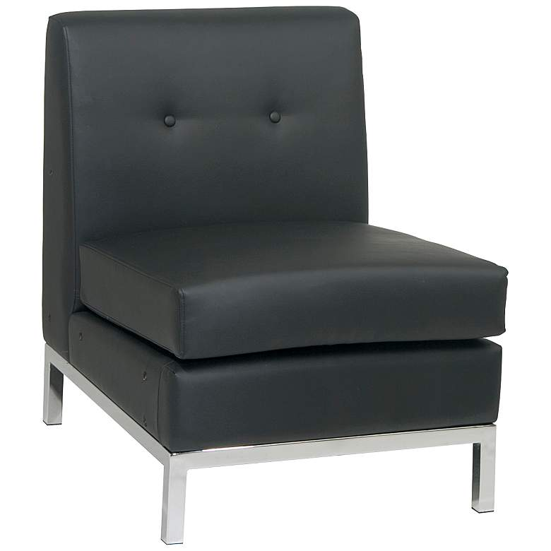 Wall Street Black Faux Leather Button-Tufted Armless Chair