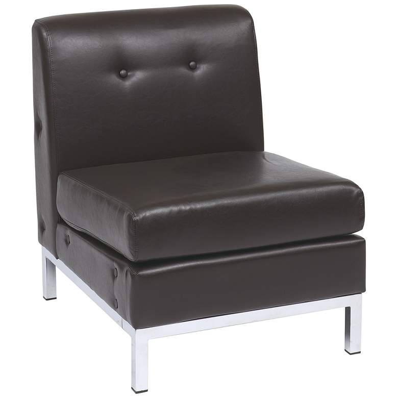 Wall Street Espresso Faux Leather Tufted Armless Chair