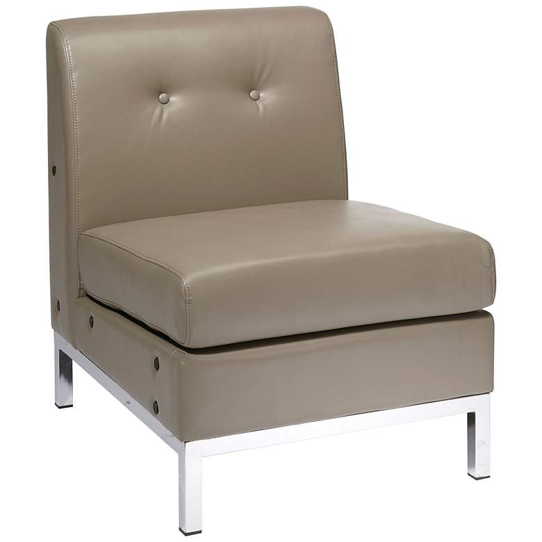 Wall Street Smoke Faux Leather Button-Tufted Armless Chair