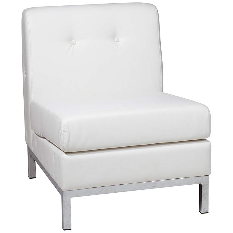 Wall Street White Faux Leather Button-Tufted Armless Chair