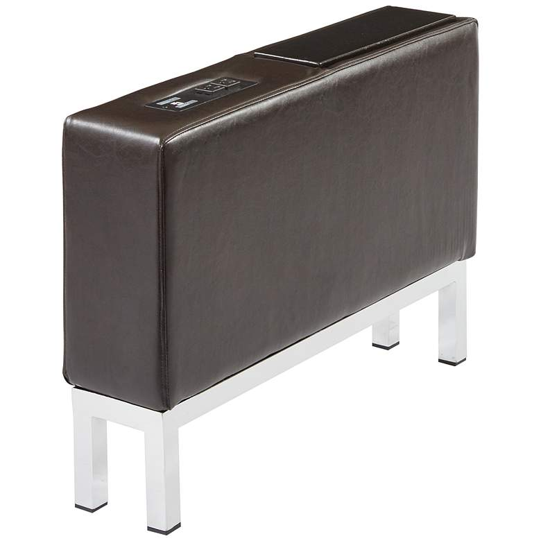 Wall Street Espresso Faux Leather AC and USB Center Console