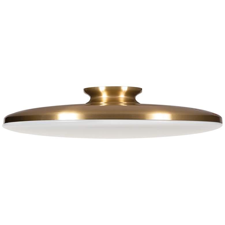 "Skye 19"" Wide Round Satin Brass Metal LED Ceiling Light"