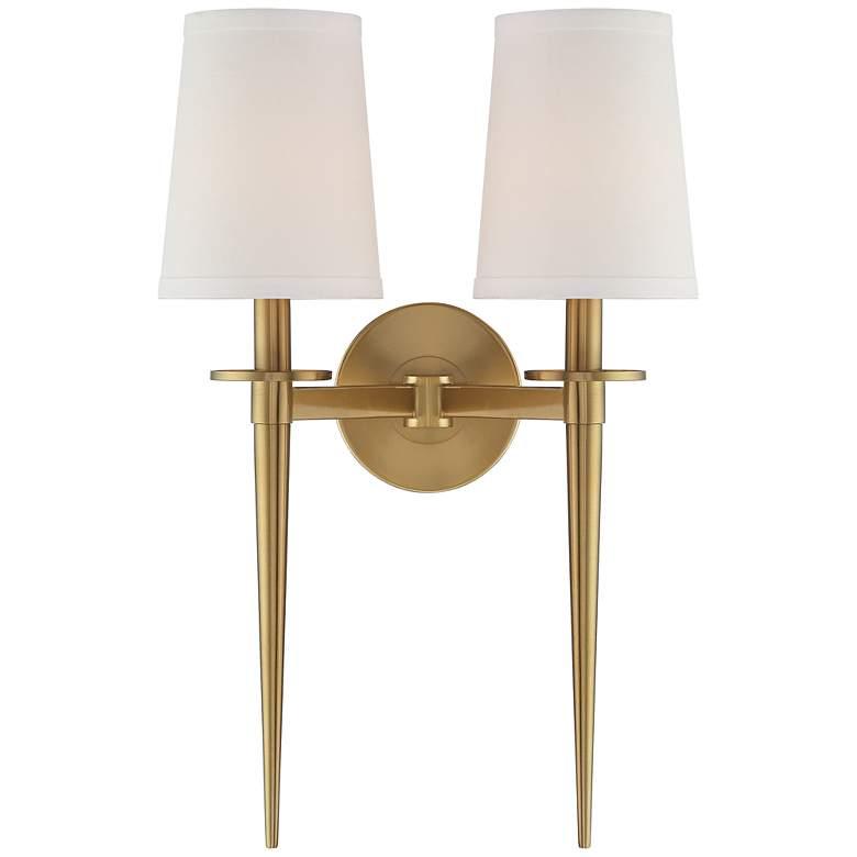 "Possini Euro Vincenzo 19 1/4"" High Warm Antique Brass Wall Lamp"