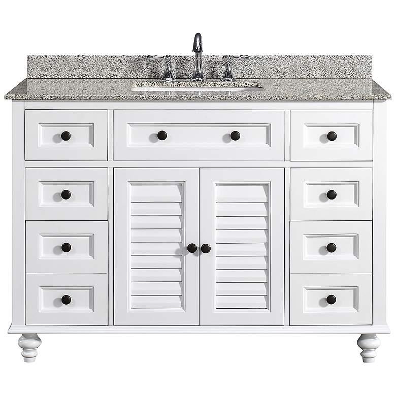 "Heather 48"" Wide White 6-Drawer Single Sink Vanity"