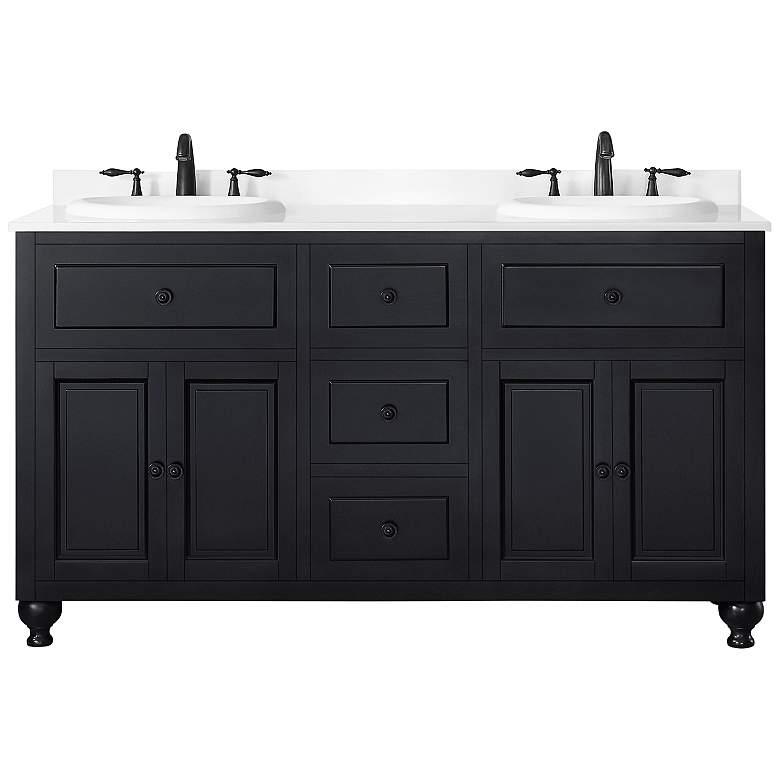 """Kensington 60"""" Wide Antique Black 4-Door Double Sink Vanity"""