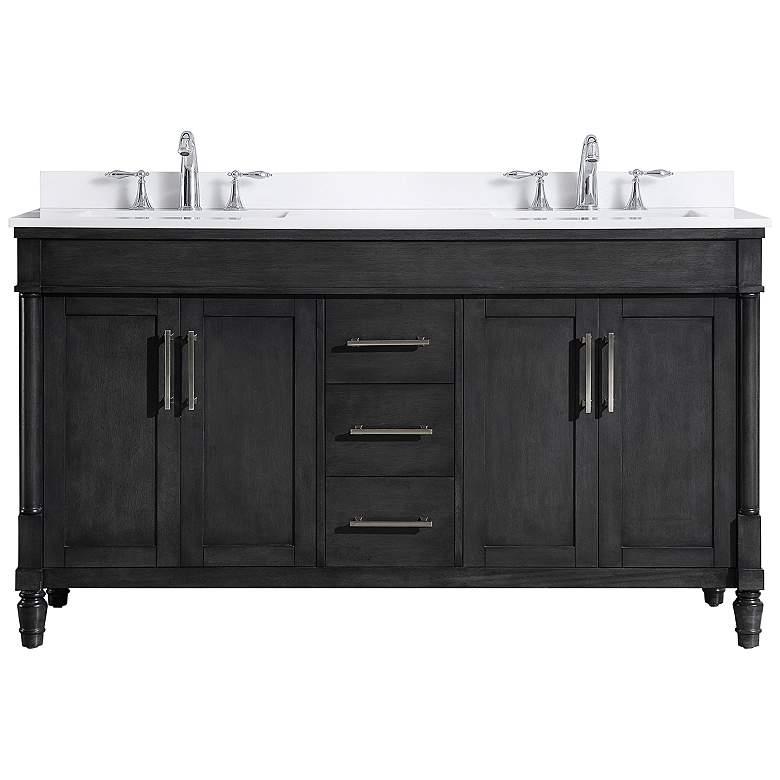 """Layla 60"""" Wide Iron Gray 4-Door Double Sink Vanity"""