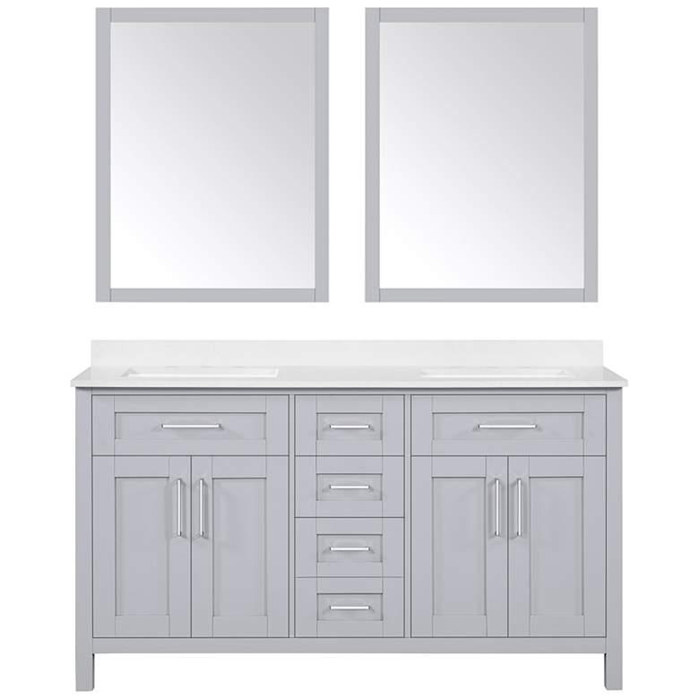 "Tahoe 60""W Dove Gray Double Sink Vanity Kit With 2 Mirrors"