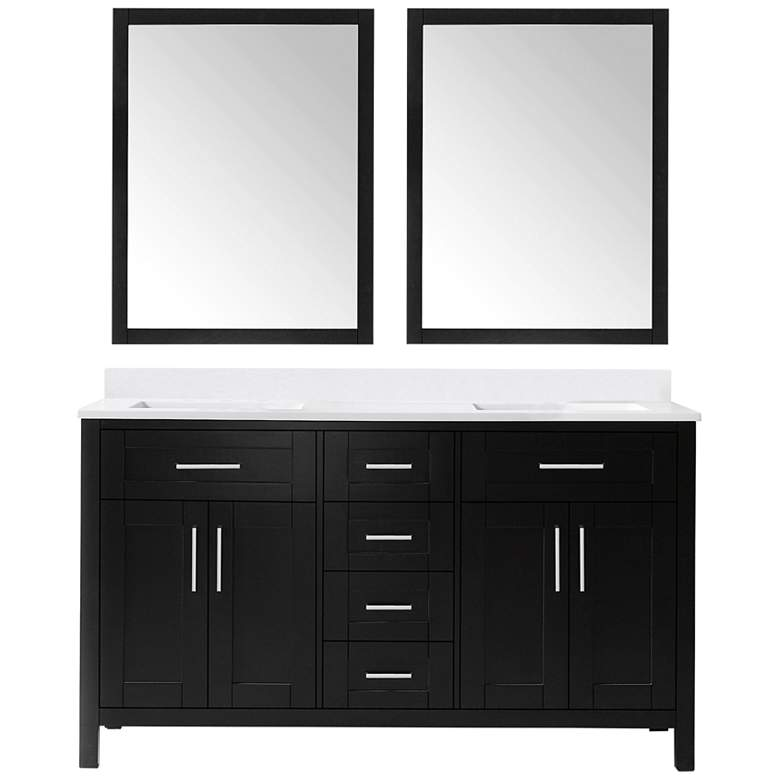 "Tahoe 60""W Espresso Double Sink Vanity Kit With 2 Mirrors"