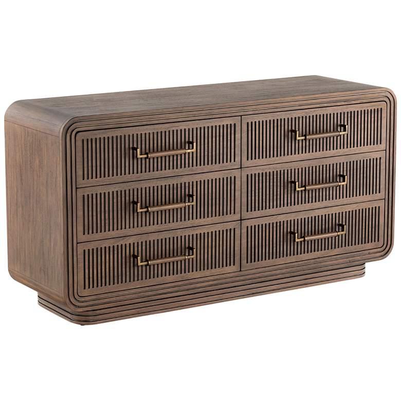 "Stark 58"" Wide Mid-Century Warm Espresso Mahogany 6-Drawer Dresser"